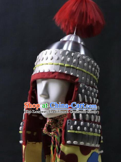 Chinese Traditional Ming Dynasty General Helmet Ancient Soldier Hat Headwear for Men