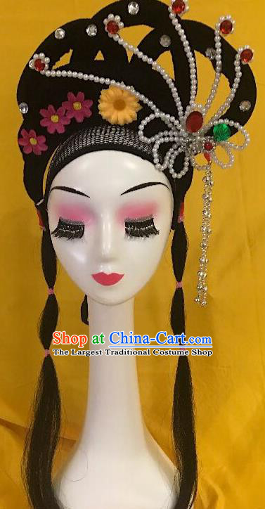 Traditional Chinese Opera Diva Wig Sheath and Phoenix Tassel Hairpins Headdress Peking Opera Goddess Hair Accessories for Women