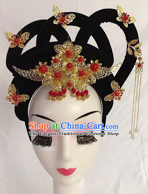 Traditional Chinese Opera Lady Wig Sheath and Golden Hairpins Headdress Peking Opera Diva Hair Accessories for Women