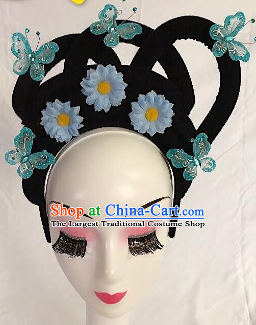 Traditional Chinese Opera Lady Wig Sheath and Blue Flower Hairpins Headdress Peking Opera Diva Hair Accessories for Women
