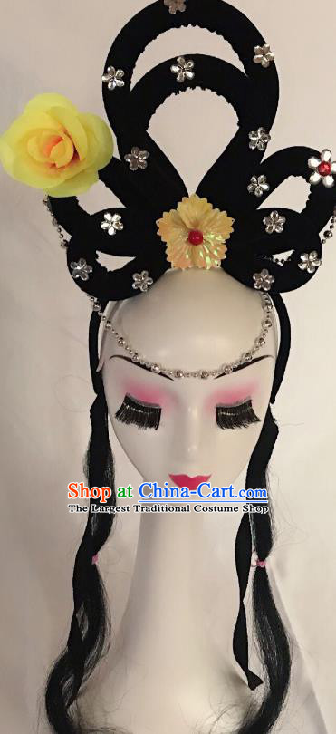 Traditional Chinese Opera Lady Wig Sheath and Yellow Rose Hairpins Headdress Peking Opera Diva Hair Accessories for Women