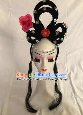 Traditional Chinese Opera Goddess Wig Sheath and Rosy Rose Hairpins Headdress Peking Opera Diva Hair Accessories for Women
