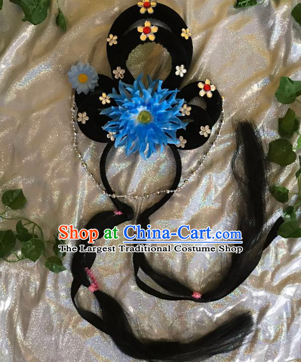 Traditional Chinese Opera Goddess Wig Sheath and Blue Peony Hairpins Headdress Peking Opera Diva Hair Accessories for Women
