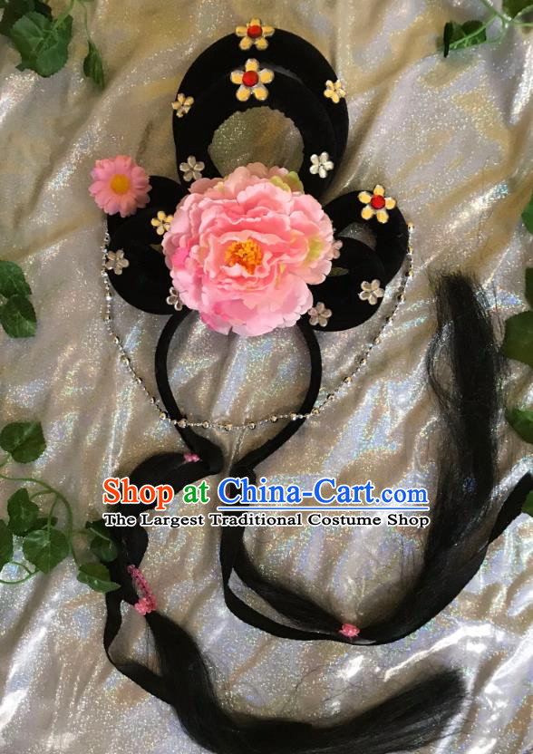Traditional Chinese Opera Goddess Wig and Pink Peony Hairpins Headdress Peking Opera Diva Hair Accessories for Women