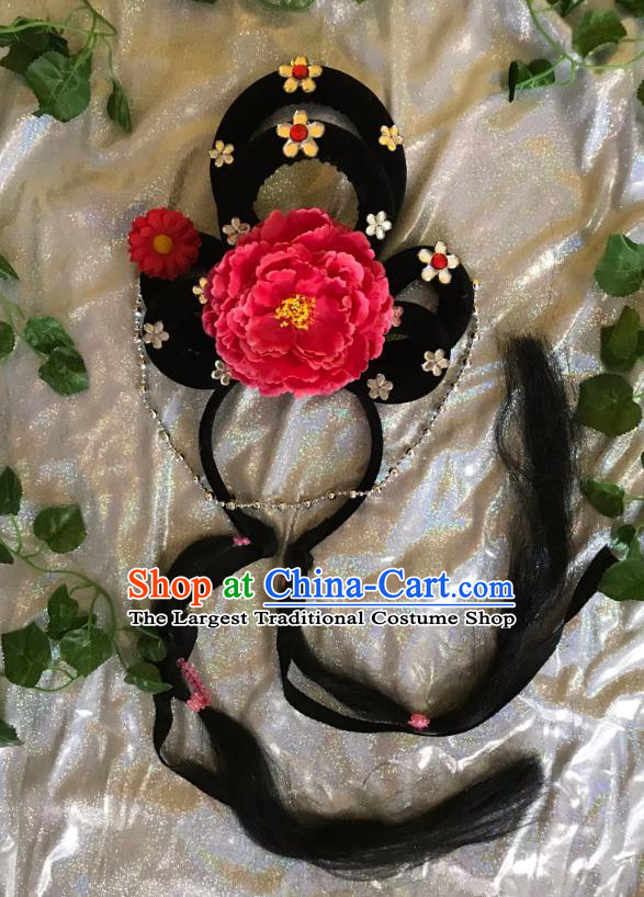 Traditional Chinese Opera Goddess Wig and Red Peony Hairpins Headdress Peking Opera Diva Hair Accessories for Women