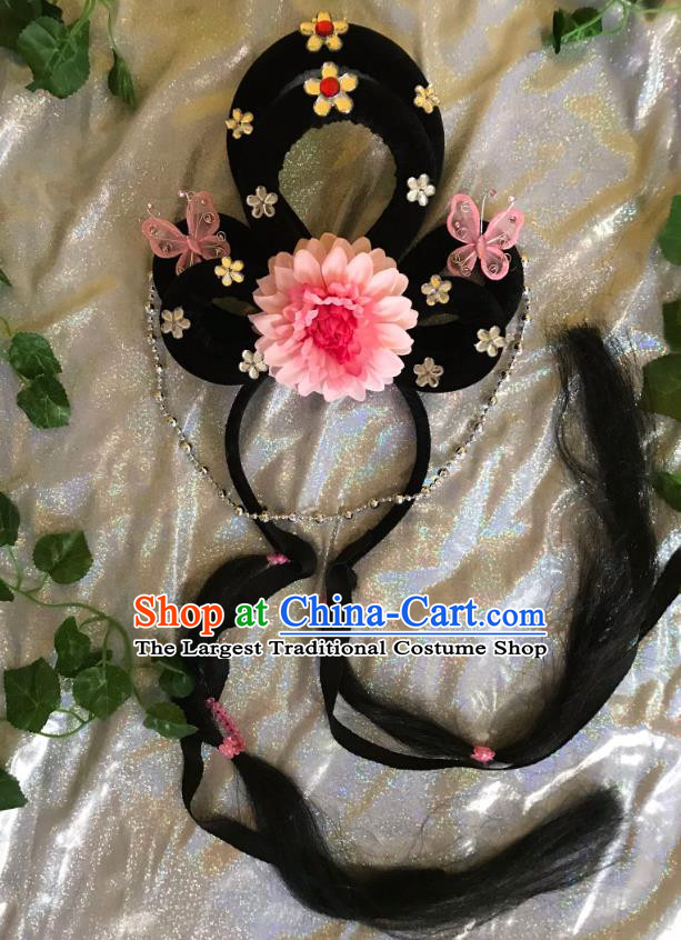 Traditional Chinese Opera Goddess Wig and Light Pink Peony Hairpins Headdress Peking Opera Diva Hair Accessories for Women