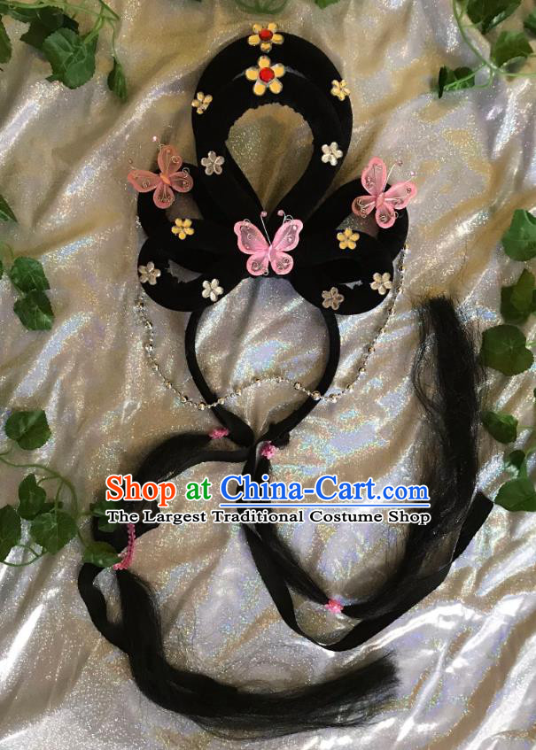 Traditional Chinese Opera Goddess Wig and Light Pink Butterfly Hairpins Headdress Peking Opera Diva Hair Accessories for Women