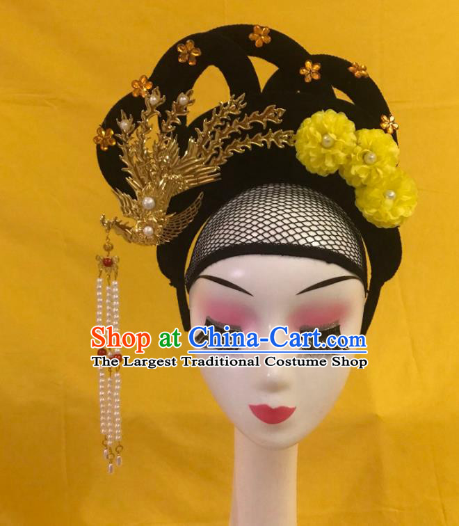 Traditional Chinese Opera Wig and Yellow Flower Phoenix Hairpins Headdress Peking Opera Diva Hair Accessories for Women
