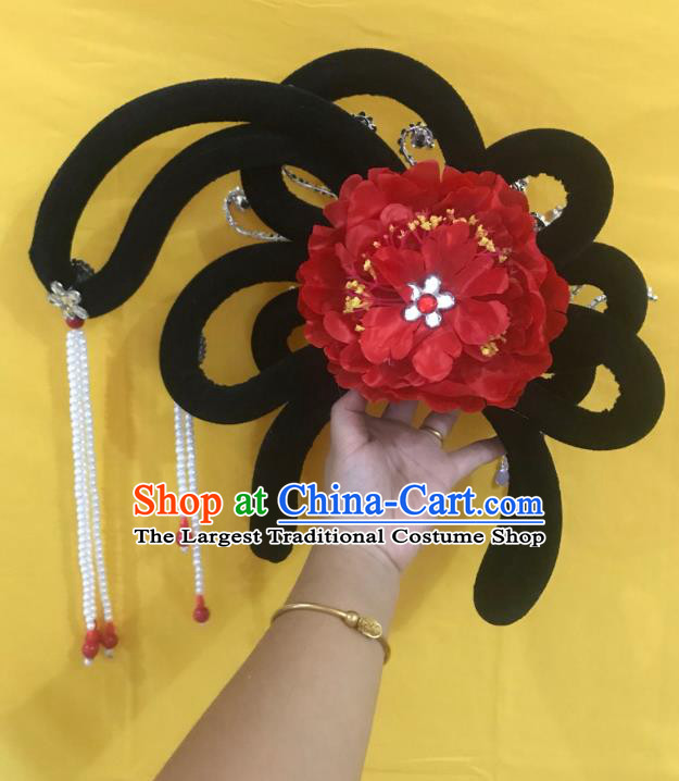 Traditional Chinese Opera Wig Chignon Red Peony Hairpins Headdress Peking Opera Diva Hair Accessories for Women