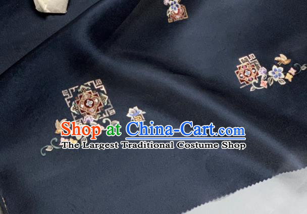 Chinese Traditional Classical Embroidered Pattern Design Navy Silk Fabric Asian Hanfu Material