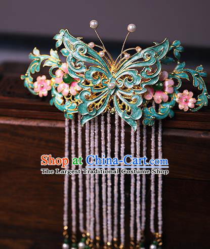 Traditional Chinese Qing Dynasty Blue Butterfly Tassel Hair Comb Headdress Ancient Queen Hair Accessories for Women