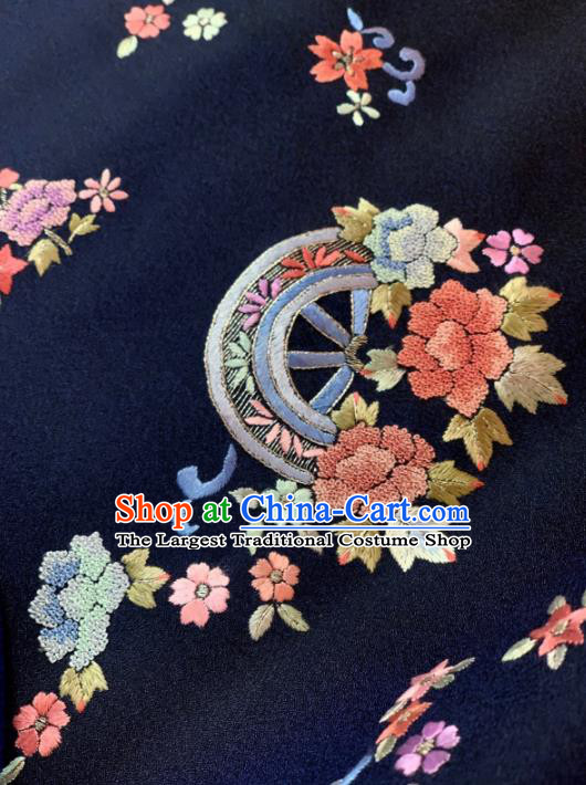 Chinese Classical Embroidered Fan Flowers Pattern Design Navy Silk Fabric Asian Traditional Hanfu Material
