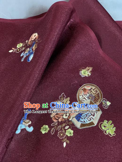 Chinese Classical Embroidered Lucky Flowers Pattern Design Wine Red Silk Fabric Asian Traditional Hanfu Material