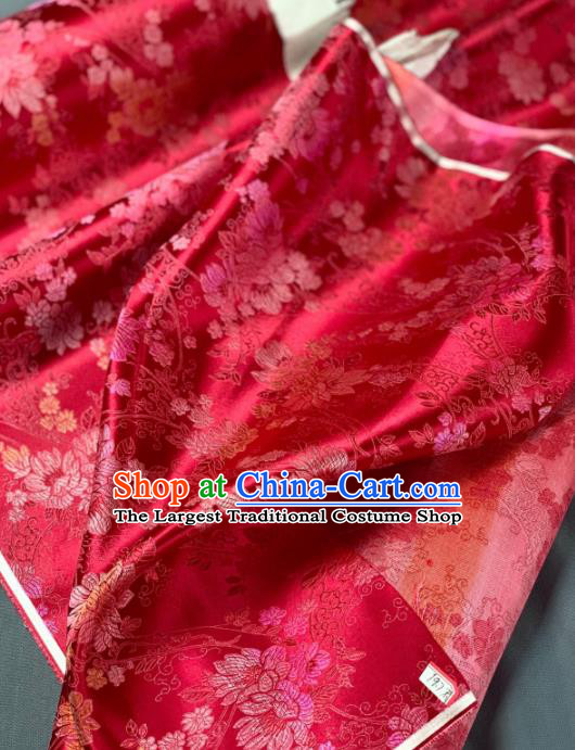 Chinese Classical Peony Pattern Design Red Silk Fabric Asian Traditional Hanfu Brocade Material