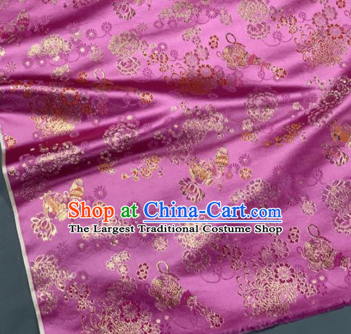 Chinese Classical Chrysanthemum Pattern Design Pink Silk Fabric Asian Traditional Hanfu Brocade Material