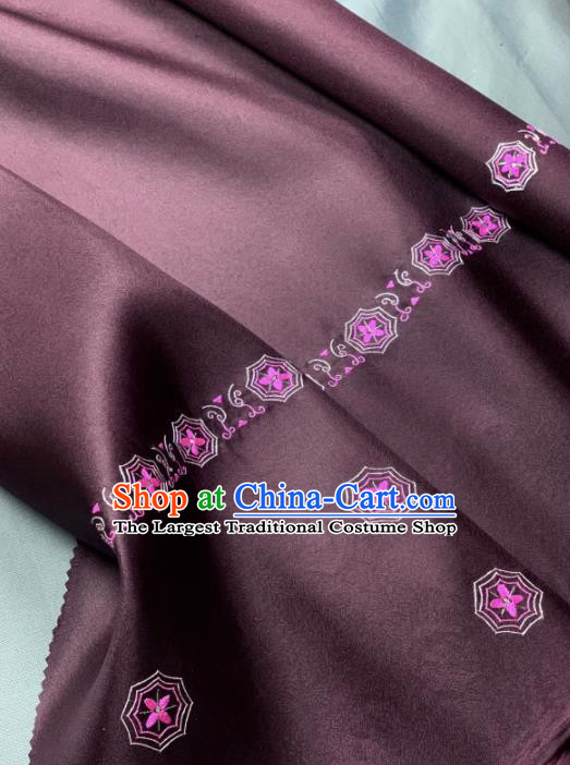 Chinese Classical Embroidered Pattern Design Purple Silk Fabric Asian Traditional Hanfu Brocade Material