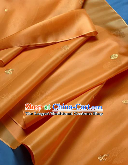 Chinese Classical Embroidered Pattern Design Orange Silk Fabric Asian Traditional Hanfu Material