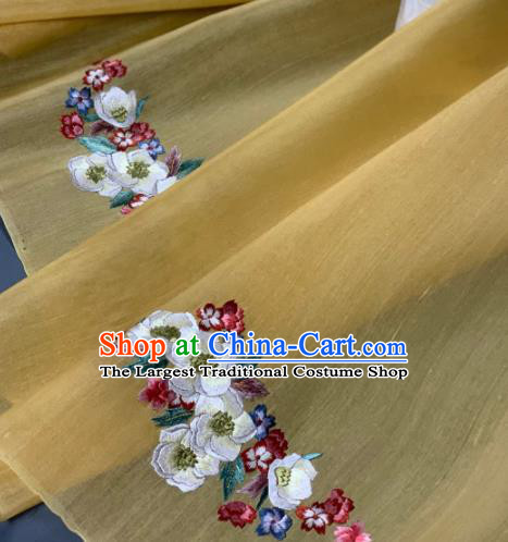 Chinese Classical Embroidered Peach Blossom Pattern Design Yellow Silk Fabric Asian Traditional Hanfu Brocade Material