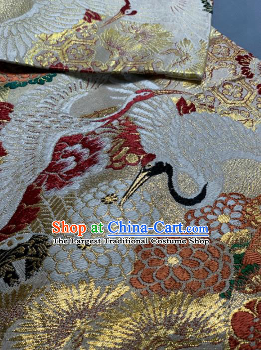 Asian Japanese Traditional Crane Peony Pattern Design Brocade Fabric Silk Fabric Tapestry Satin