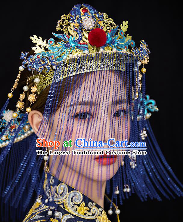 Traditional Chinese Wedding Cloisonne Phoenix Coronet Hairpins Headdress Ancient Princess Hair Accessories for Women