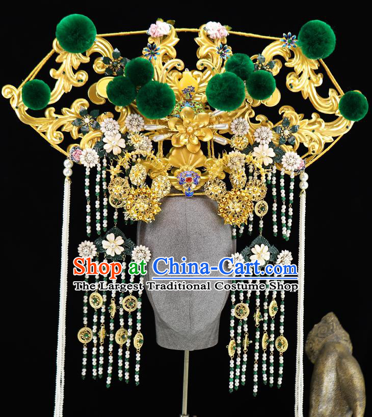 Traditional Chinese Qing Dynasty Phoenix Coronet Hairpins Headdress Ancient Empress Hair Accessories for Women
