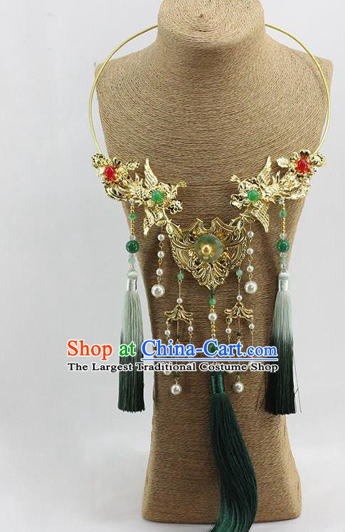 Traditional Chinese Wedding Green Tassel Necklace Ancient Bride Handmade Golden Phoenix Necklet Accessories for Women
