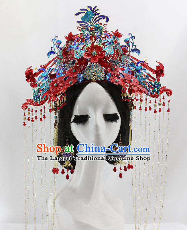 Traditional Chinese Opera Cloisonne Red Phoenix Coronet Hairpins Headdress Ancient Wedding Hair Accessories for Women