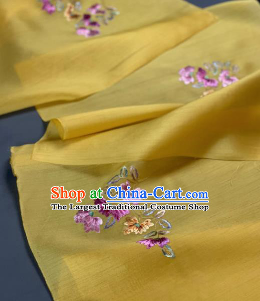 Chinese Traditional Embroidered Chrysanthemum Pattern Design Yellow Silk Fabric Asian Hanfu Material
