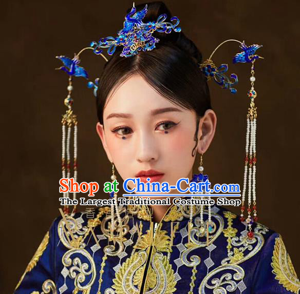 Traditional Chinese Cloisonne Crane Hair Crown Hairpins Headdress Ancient Wedding Hair Accessories for Women
