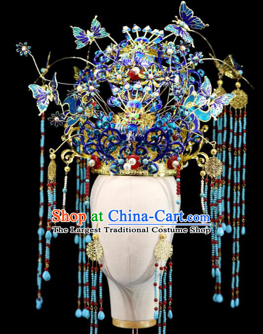 Traditional Chinese Cloisonne Butterfly Phoenix Coronet Hairpins Headdress Ancient Wedding Hair Accessories for Women