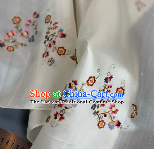 Chinese Traditional Embroidered Flowers Pattern Design White Silk Fabric Asian Hanfu Material