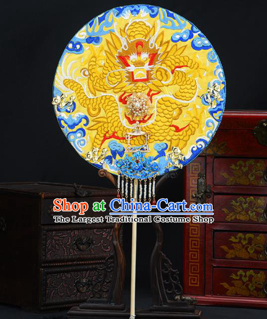 Traditional Chinese Handmade Golden Dragon Round Fans Ancient Hanfu Wedding Palace Fan for Women