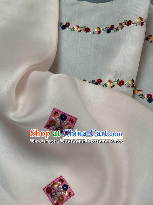 Chinese Traditional Embroidered Little Flowers Pattern Design White Silk Fabric Asian Hanfu Material