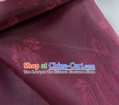 Chinese Traditional Classical Flowers Pattern Design Purplish Red Silk Fabric Asian Hanfu Material