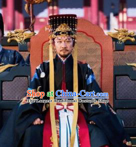 Royal Nirvana Chinese Ancient Drama Emperor of Northern Qi Xiao Jian Replica Costumes and Headdress Complete Set