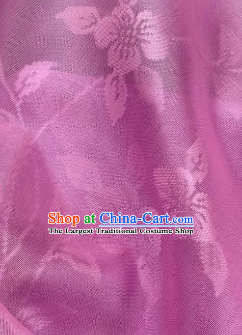 Chinese Traditional Classical Flowers Pattern Design Rosy Silk Fabric Asian Hanfu Material
