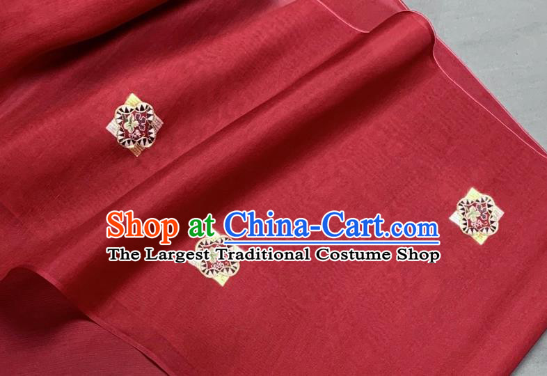 Chinese Traditional Classical Embroidered Pattern Design Red Silk Fabric Asian Hanfu Material