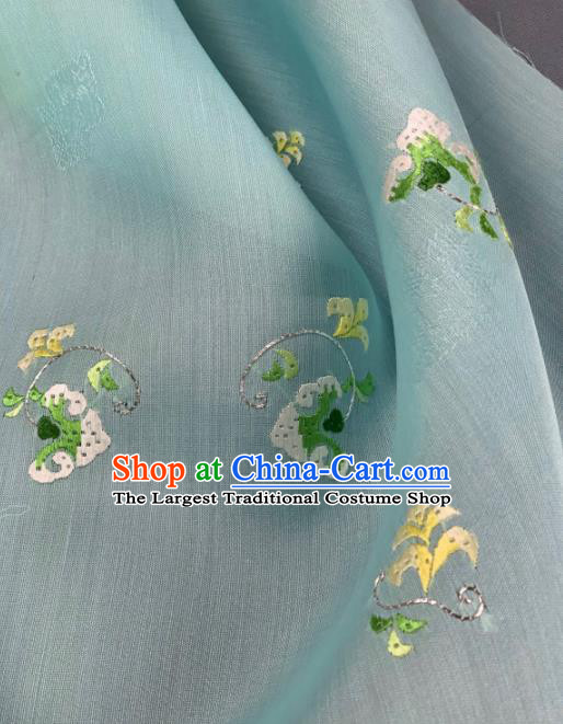 Chinese Traditional Classical Embroidered Pattern Design Light Green Silk Fabric Asian Hanfu Material