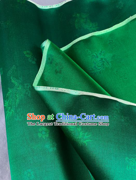 Chinese Traditional Classical Pattern Design Deep Green Silk Fabric Asian Hanfu Material