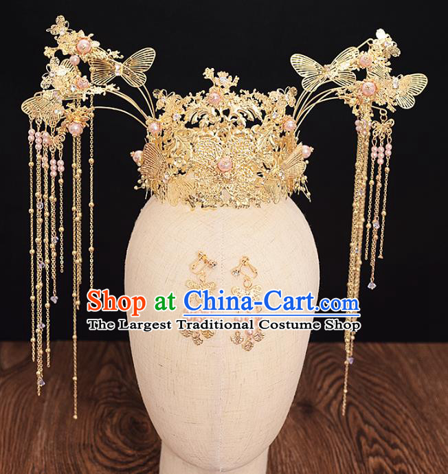 Traditional Chinese Bride Golden Butterfly Pearls Phoenix Coronet Headdress Ancient Wedding Hair Accessories for Women