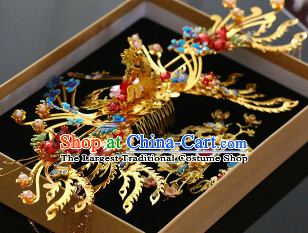 Traditional Chinese Ming Dynasty Golden Hair Comb and Hairpins Headdress Ancient Court Hair Accessories for Women
