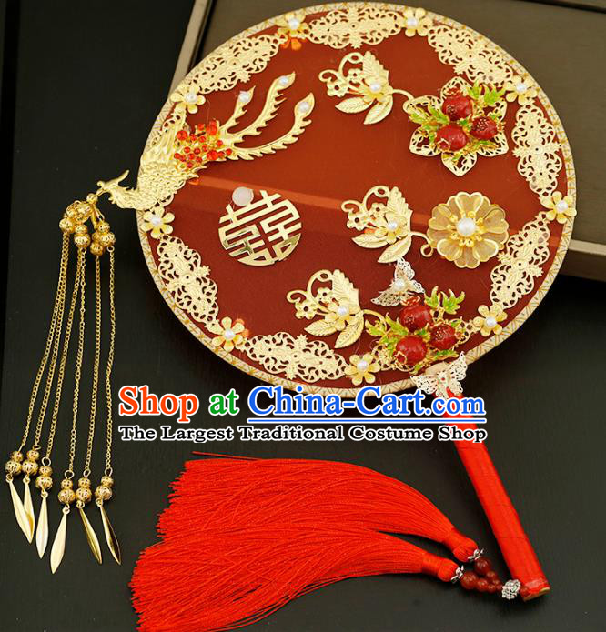 Traditional Chinese Classical Red Silk Round Fans Ancient Hanfu Wedding Palace Fan for Women