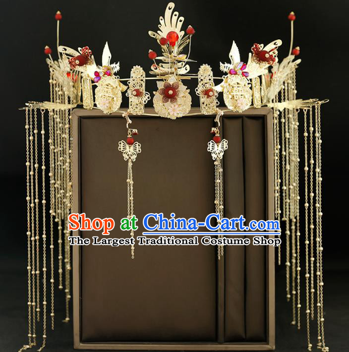 Traditional Chinese Bride Tassel Golden Phoenix Coronet Headdress Ancient Wedding Hair Accessories for Women