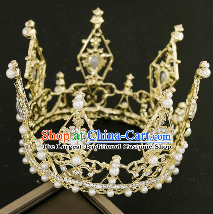 Top Grade Princess Crystal Golden Round Royal Crown Handmade Baroque Bride Hair Accessories for Women