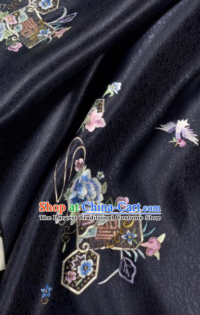 Chinese Traditional Embroidered Crane Flowers Pattern Design Black Silk Fabric Asian Hanfu Material