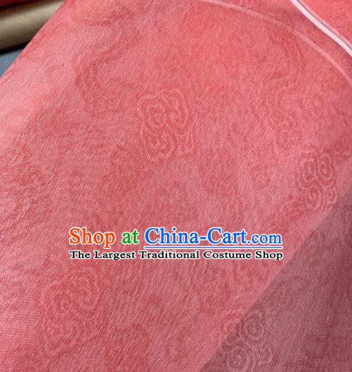 Chinese Traditional Classical Clouds Pattern Design Peach Pink Silk Fabric Asian Hanfu Material