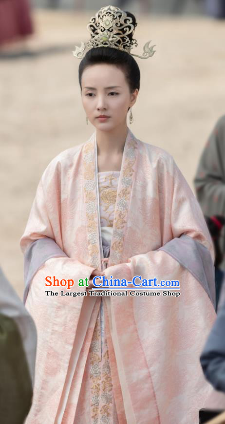 Chinese Ancient Dauphine Crown Princess Zhang Nianzhi Drama Royal Nirvana Replica Costumes and Headpiece Complete Set