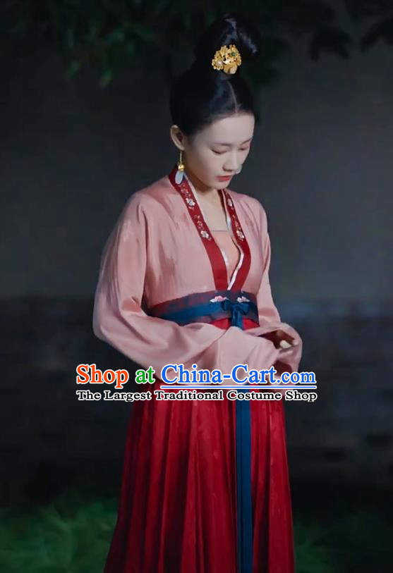 Chinese Ancient Palace Maid Drama Royal Nirvana Lu Wenxi Replica Costumes and Headpiece for Women