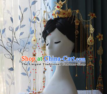 Traditional Chinese Golden Phoenix Coronet Hairpin Headdress Ancient Court Queen Hair Accessories for Women