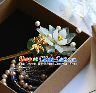 Traditional Chinese Palace Green Lotus Hairpin Headdress Ancient Court Hair Accessories for Women